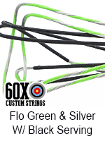 fluorescent green and silver custom bow string color with black serving