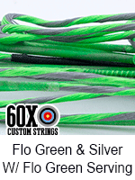 fluorescent green and silver custom bow string color with fluorescent green serving