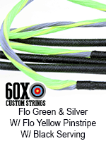 fluorescent green and silver custom bow string color with fluorescent yellow pinstripe and black serving