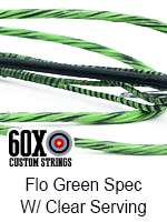 fluorescent green speckled custom bow string color with clear serving