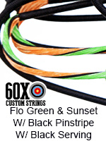 fluorescent green and sunset custom bow string color with black pinstripe and black serving