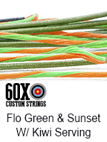 fluorescent green and sunset custom bow string color with kiwi serving
