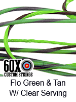 fluorescent green and tan custom bow string color with clear serving