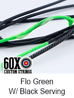 fluorescent green custom bow string color with black serving