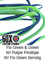 fluorescent green and green custom bow string color with purple pinstripe and fluorescent green serving