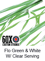 fluorescent green and white custom bow string color with clear serving