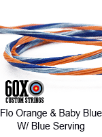 fluorescent orange and baby blue custom bow string color with blue serving