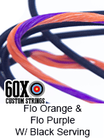 fluorescent orange and fluorescent purple custom bow string color with black serving