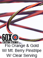 fluorescent orange and gold custom bow string color with mountain berry pinstripe and clear serving