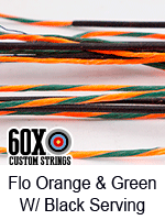 fluorescent orange and green custom bow string color with black serving