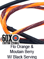 fluorescent orange and mountain berry custom bow string color with black serving