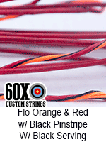 fluorescent orange and red custom bow string color with black pinstripe and black serving