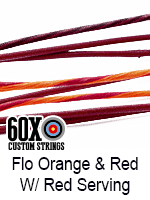 fluorescent orange and red custom bow string color with red serving