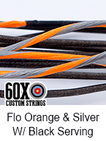 fluorescent orange and silver custom bow string color with black serving