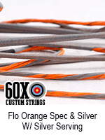 fluorescent orange speckled and silver custom bow string color with silver serving