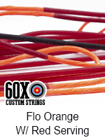 fluorescent orange custom bow string color with red serving