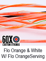 fluorescent orange  and white custom bow string color with fluorescent orange serving