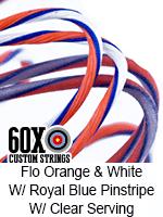 fluorescent orange and white custom bow string color with royal blue pinstripe and clear serving